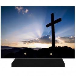 PLAQUE FUNÉRAIRE RELIGION CROIX 25 cm X 35 cm FPF6423