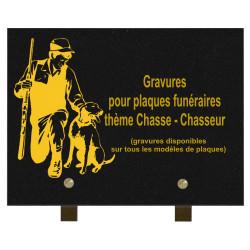 PLAQUE FUNÉRAIRE 20X30 GRANIT CHASSE CHASSEUR SUR PIEDS