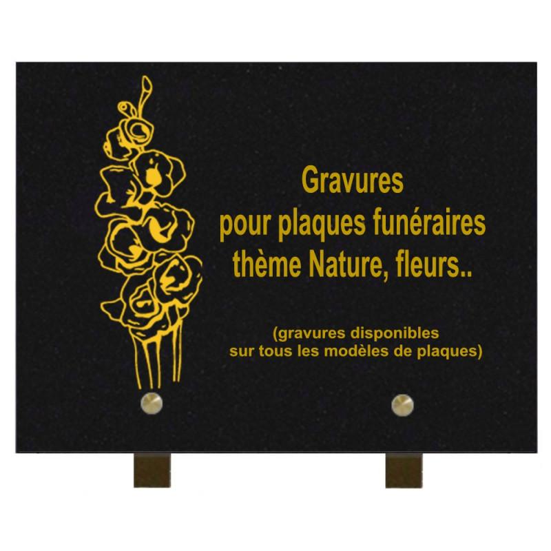 PLAQUE FUNÉRAIRE 20X30 GRANIT FLEURS SUR PIEDS