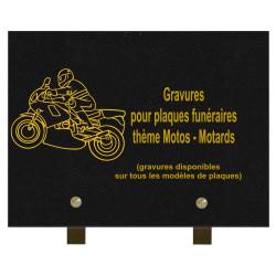PLAQUE FUNÉRAIRE 20X30 GRANIT MOTOS MOTARDS SUR PIEDS