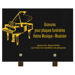 PLAQUE FUNÉRAIRE 20X30 GRANIT MUSIQUE MUSICIENS SUR PIEDS