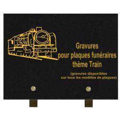 PLAQUE FUNÉRAIRE 20X30 GRANIT TRAINS SUR PIEDS