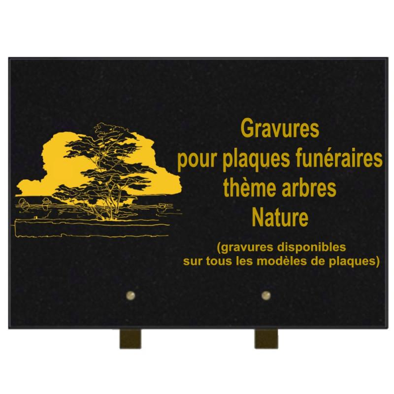 PLAQUE FUNÉRAIRE 25X35 ARBRES NATURE GRANIT SUR PIEDS