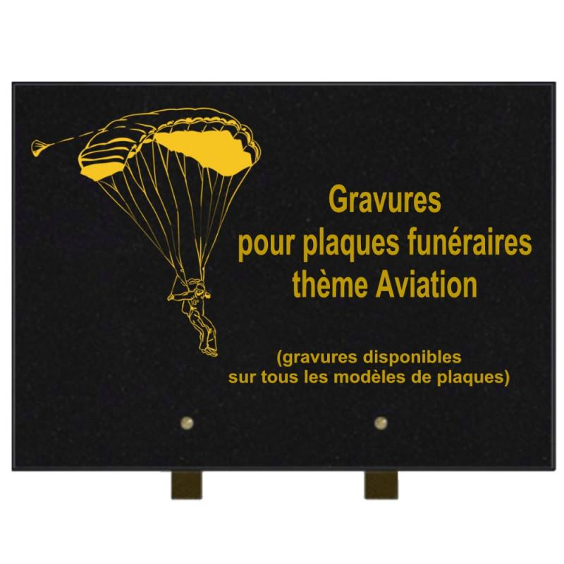 PLAQUE FUNÉRAIRE 25X35 AVION AVIATION GRANIT SUR PIEDS