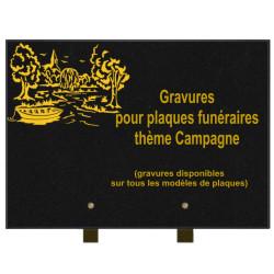 PLAQUE FUNÉRAIRE 25X35 CAMPAGNE GRANIT SUR PIEDS