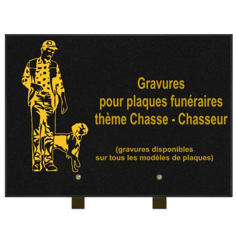PLAQUE FUNÉRAIRE 25X35 CHASSEURS CHASSE GRANIT SUR PIEDS