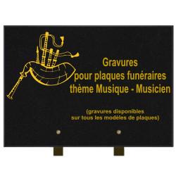 PLAQUE FUNÉRAIRE 25X35 MUSICIENS MUSIQUE GRANIT SUR PIEDS
