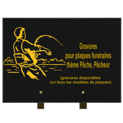 PLAQUE FUNÉRAIRE 25X35 PÊCHE PÊCHEURS GRANIT SUR PIEDS