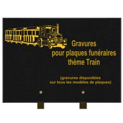 PLAQUE FUNÉRAIRE 25X35 TRAINS GRANIT SUR PIEDS