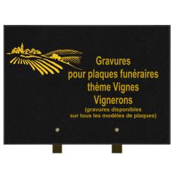 PLAQUE FUNÉRAIRE 25X35 VIGNERONS VIGNE GRANIT SUR PIEDS