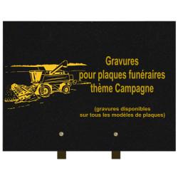PLAQUE FUNÉRAIRE 30X40 CAMPAGNE GRANIT SUR PIEDS