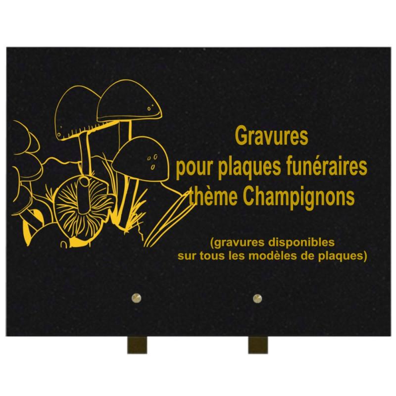 PLAQUE FUNÉRAIRE 30X40 CHAMPIGNONS GRANIT SUR PIEDS