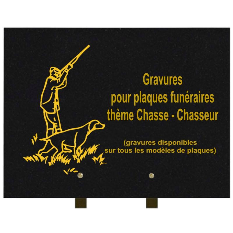 PLAQUE FUNÉRAIRE 30X40 CHASSE CHASSEURS GRANIT SUR PIEDS