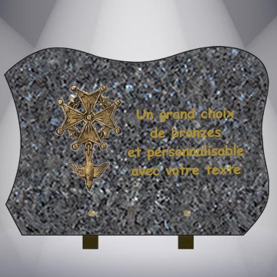plaque funéraire granit personnalisable AVEC BRONZE RELIGION CHRETIEN JUIF MUSULMAN PROTESTANT