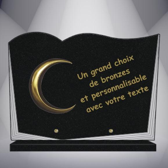 plaque funéraire granit personnalisable pas cher AVEC BRONZE RELIGION MUSULMANE CHRETIENNE JUIVE