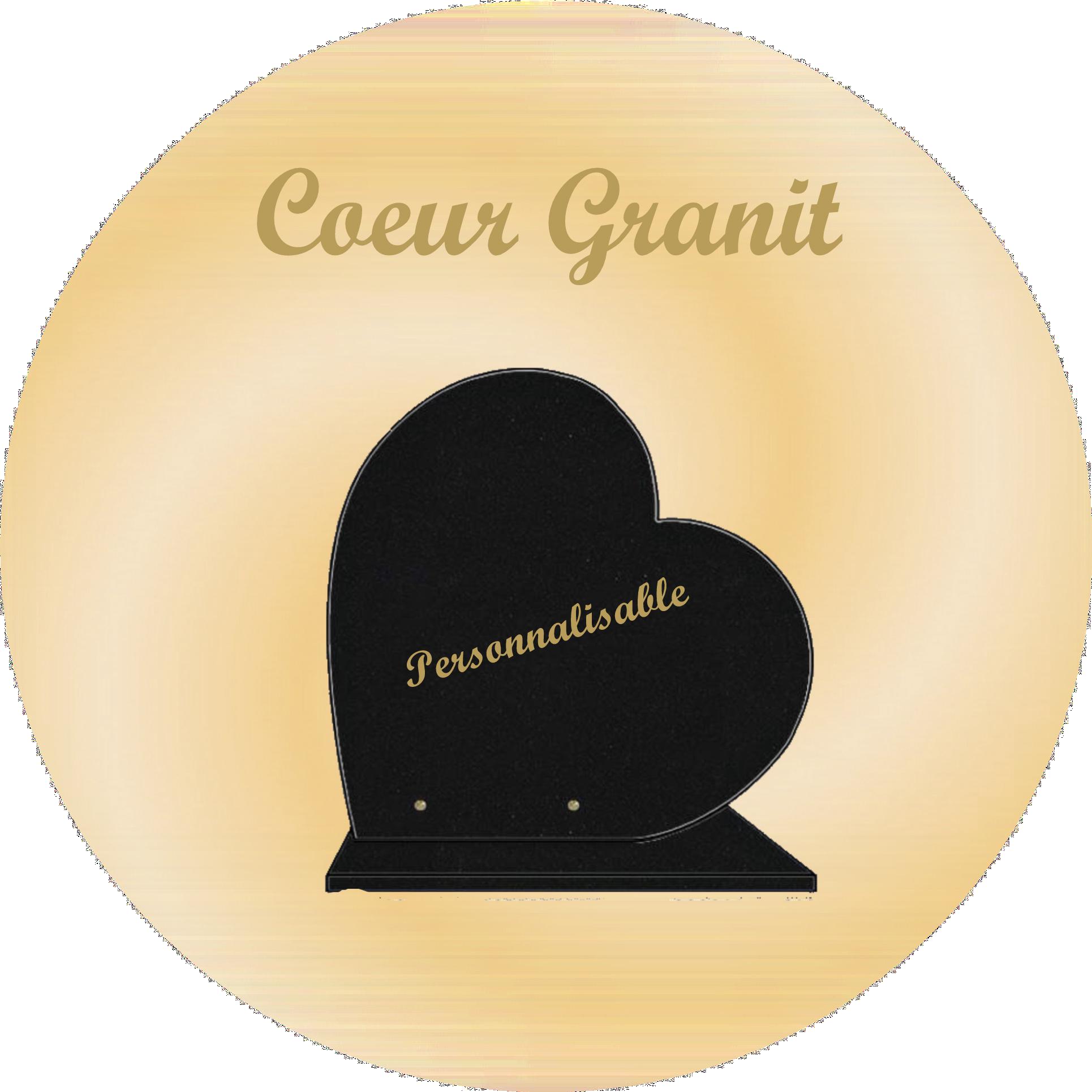 plaques funéraire coeur granit personnalisables