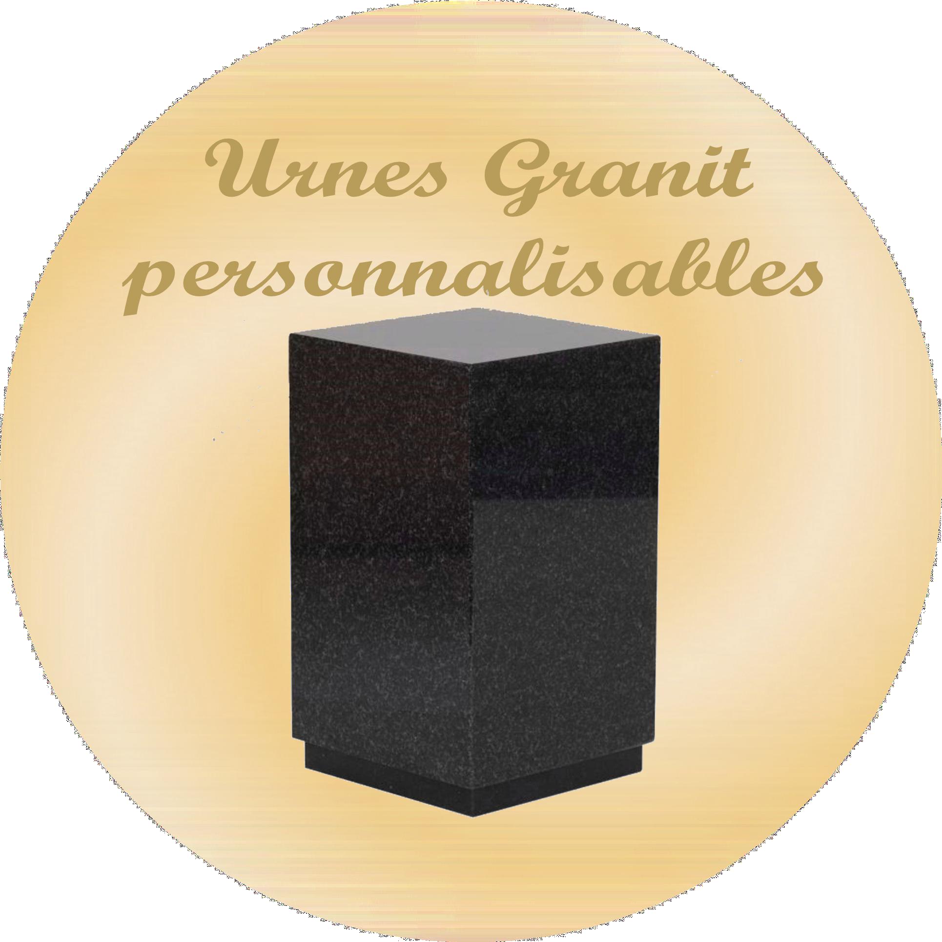 urnes funeraires en granit personnalisable avec texte gravé