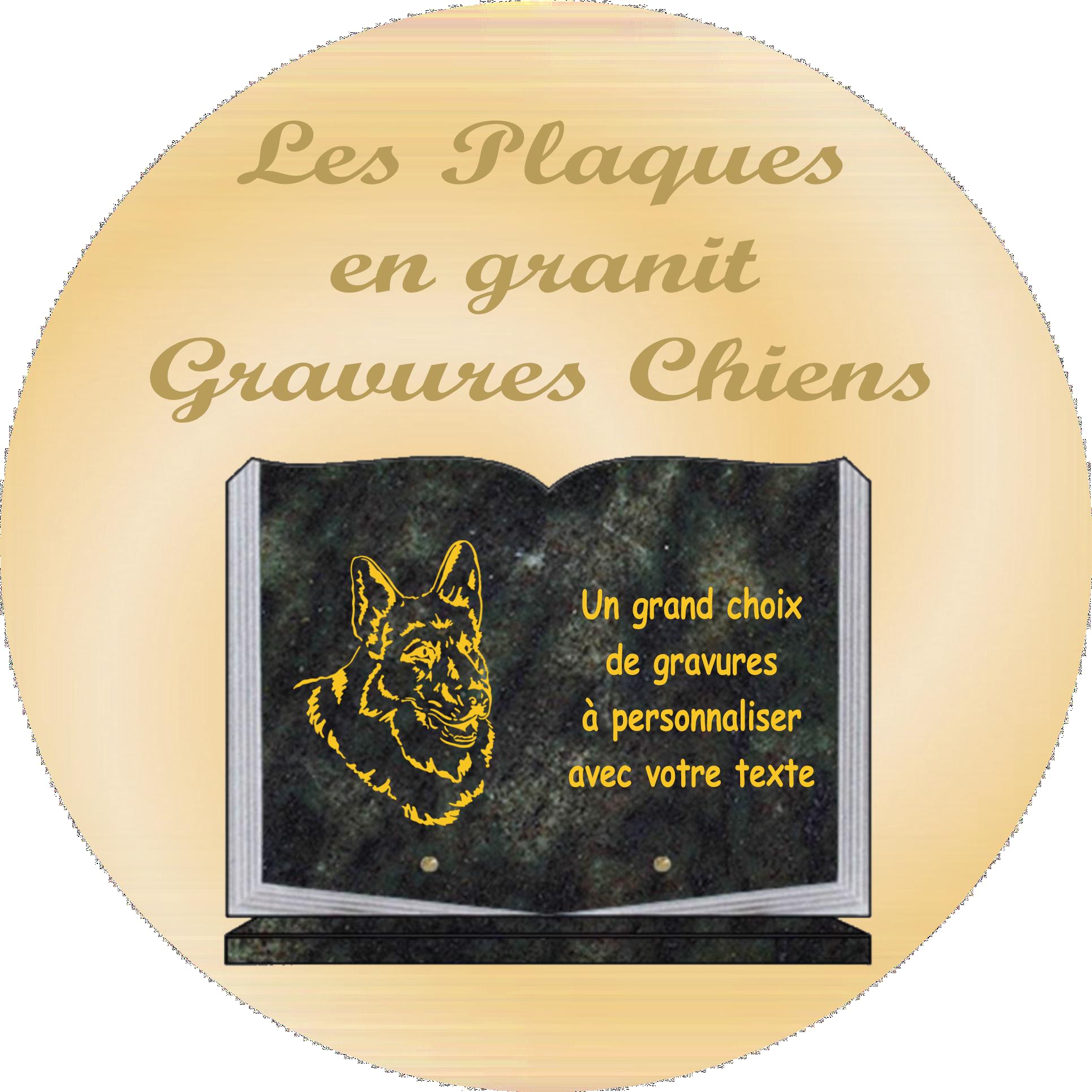CHIEN - PLAQUES FUNÉRAIRES GRAVÉES OR. Plaques funéraires personnalisées gravées avec image de chiens, chiots, berger allemand, setter, golden retriever, chiens de chasse.....
