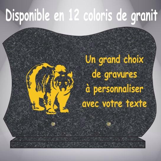 PLAQUE ANIMAUX CG12 35X25 SOCLE 12 COLORIS GRANIT L 35cm - H 25cm