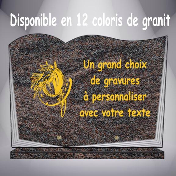plaque funéraire granit ANIMAUX SUR SOCLE