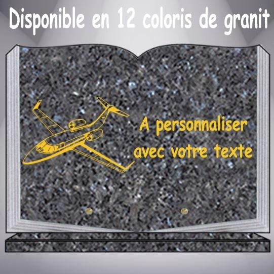plaque funéraire granit AVION personnalisable pas cher