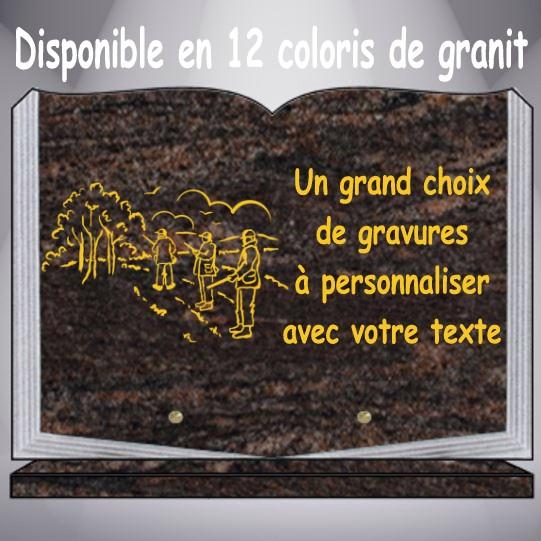 plaque funéraire granit CHASSE personnalisable pas cher