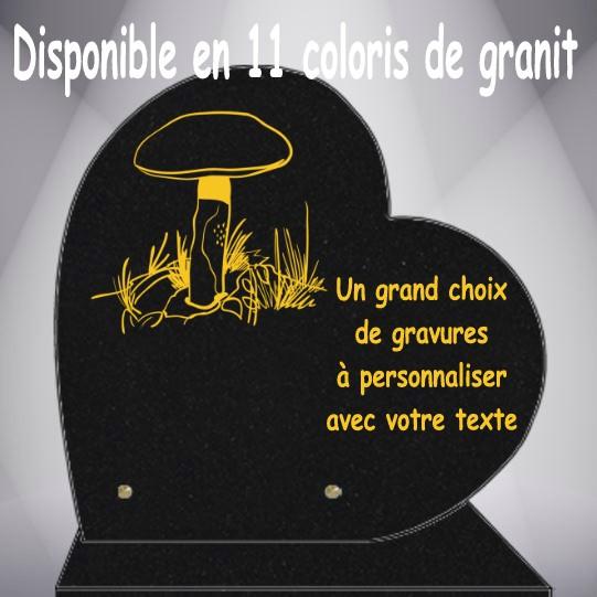 PLAQUE FUNÉRAIRE CHAMPIGNONS COEUR CG0910 SOCLE
