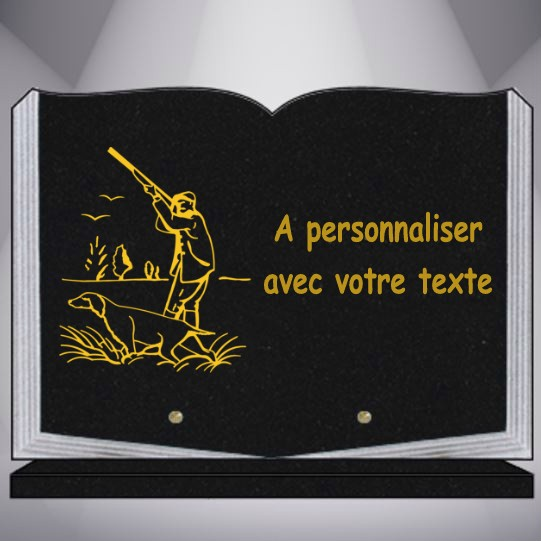 PLAQUE FUNERAIRE GRANIT CHASSE CHASSEUR