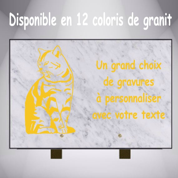 PLAQUE FUNÉRAIRE RECTANGLE GRAVÉE CHAT