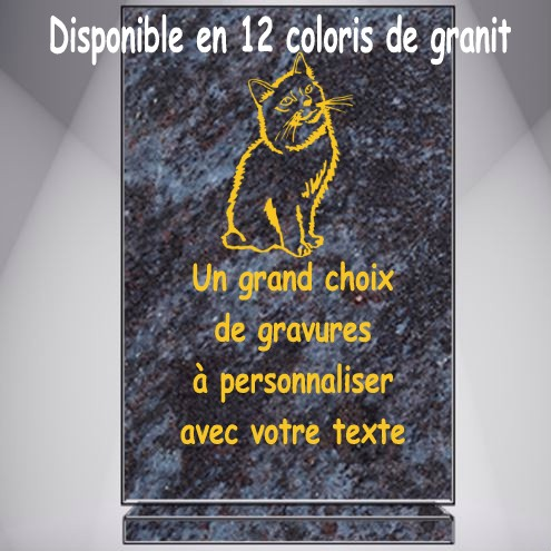 PLAQUE FUNÉRAIRE CHAT RECTANGLE VERTICALE SOCLE GRAVÉE