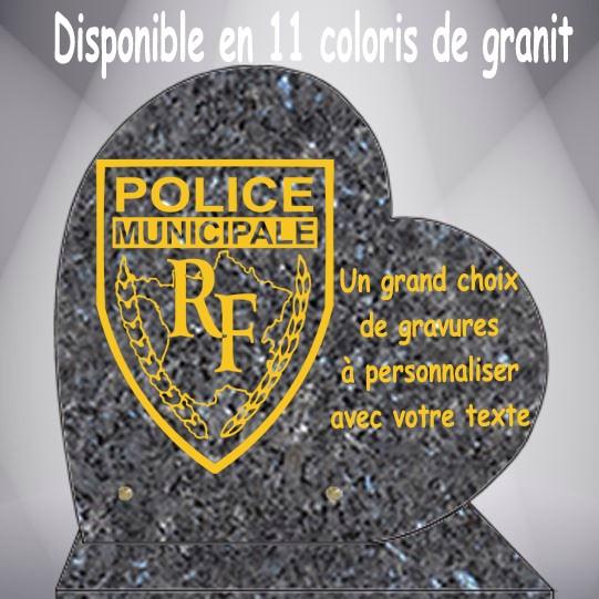 PLAQUE FUNÉRAIRE THÈME MÉTIERS CŒUR CG0910 SOCLE