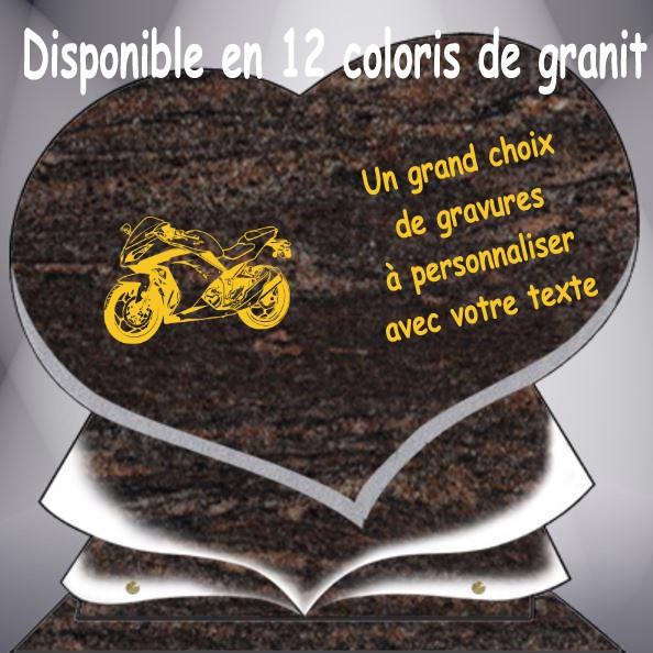 PLAQUE FUNÉRAIRE MOTO MOTARD COEUR CG11
