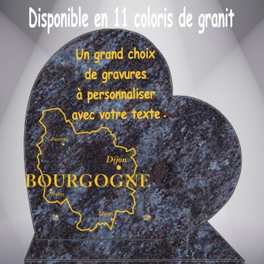 PLAQUE FUNÉRAIRE RÉGIONS DE FRANCE CŒUR CG0910 SOCLE