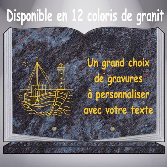 plaque funéraire granit pêche pêcheur personnalisable pas cher