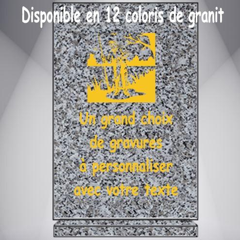 PLAQUE FUNÉRAIRE PÉCHEUR RECTANGLE VERTICALE SOCLE GRAVÉE