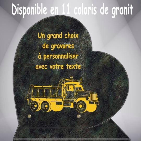 PLAQUE FUNÉRAIRE POIDS LOURDS ET ENGINS DE CHANTIER CŒUR CG0910 SOCLE