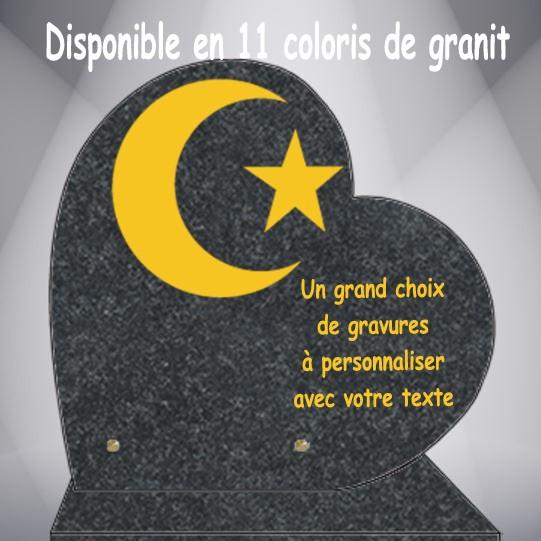 PLAQUE FUNÉRAIRE RELIGIONS COEUR CG0910 SOCLE