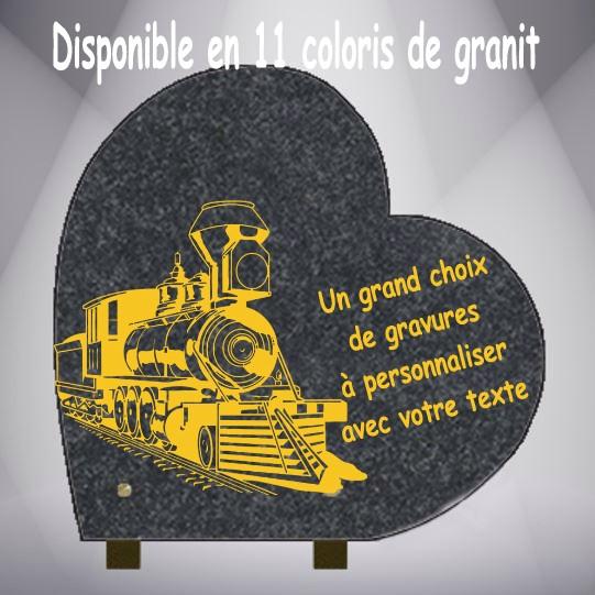 PLAQUE FUNÉRAIRE TRAINS COEUR PIEDS ALU