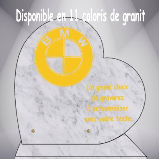 PLAQUE FUNÉRAIRE VOITURES CŒUR CG0910 SOCLE
