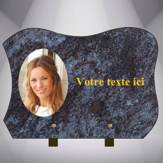 PLAQUE GRANIT rectangle MEDAILLON ET TEXTE CG12 35X35 PIEDS MASS BLUE
