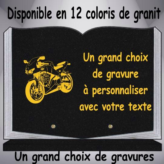 plaque granit moto