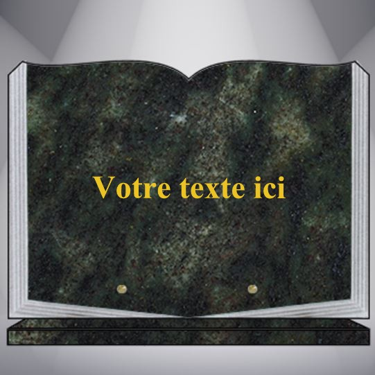 PLAQUE GRANIT rectangle TEXTE CG06 35X25 SOCLE VERT TROPICAL