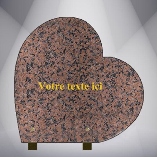plaque funéraire granit TEXTE CG09 30X30 PIEDS ALU ROSE CLARTE