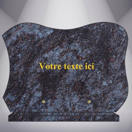 plaque funéraire granit TEXTE CG12 35X35 SOCLE MASS BLUE
