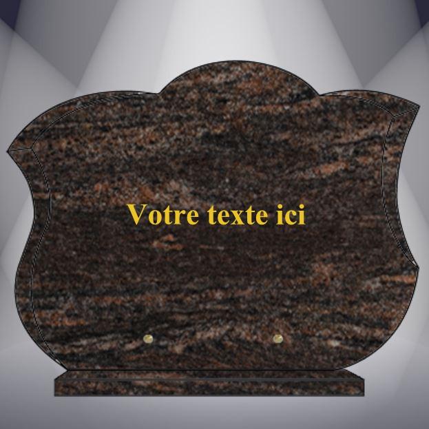 plaque funéraire granit TEXTE CG14 40X30 SOCLE HIMALAYA BLUE