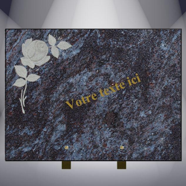 plaque funéraire granit TEXTE CG20 40X30 SUR PIEDS MASS BLUE