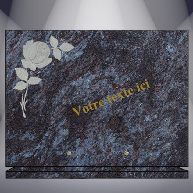 plaque funéraire granit TEXTE CG20 40X30 SUR SOCLE MASS BLUE