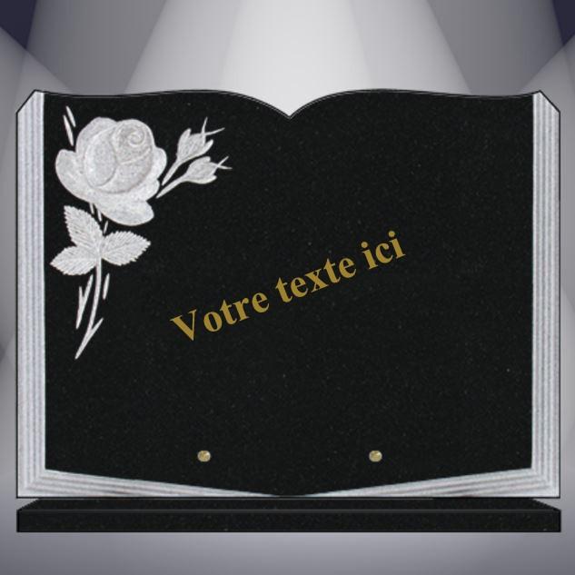 plaque funéraire granit TEXTE CG21 40X30 SUR SOCLE NOIR MARLIN