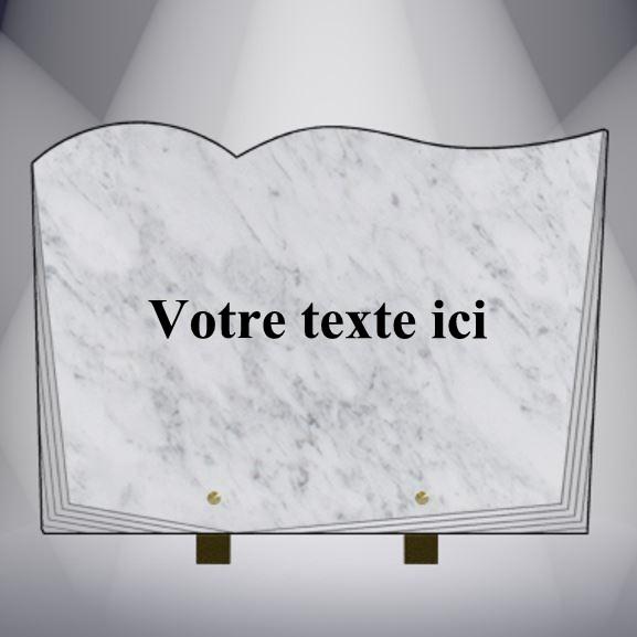 plaque funéraire granit TEXTE CG25 35X25 PIEDS MARBRE BLANC