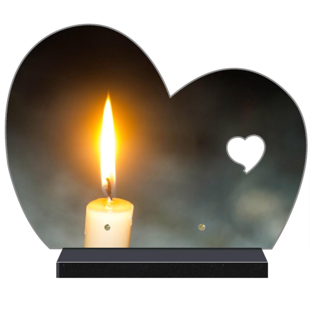 Demi coeur Altuglas Plaque funéraire en forme de demi coeur